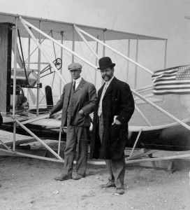 1909: Wilbur Wright & their PR manager, William J. Hammer.