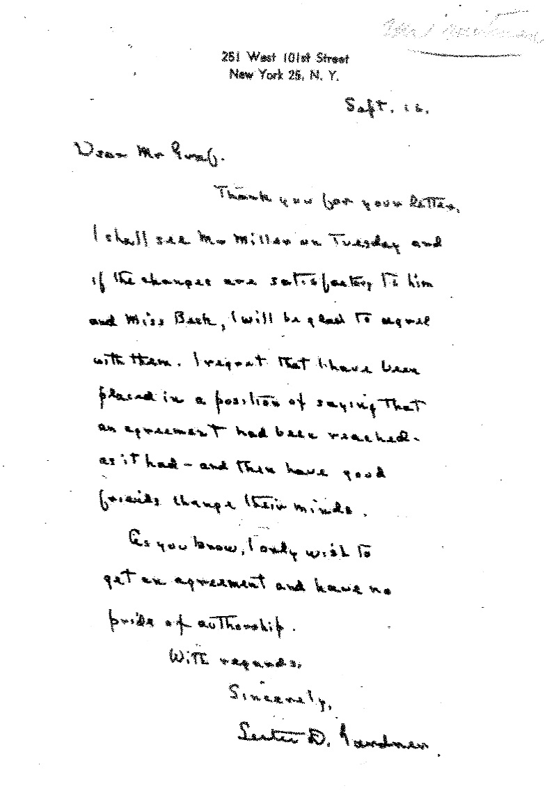 Lester Gardner replies to Graff that he will see Mr. Miller (co-executor of OW estate) on Tues. and if the changes [to the labels] are satisfactory to him and Ms. Beck [OW secretary] he will be glad to agree with them.