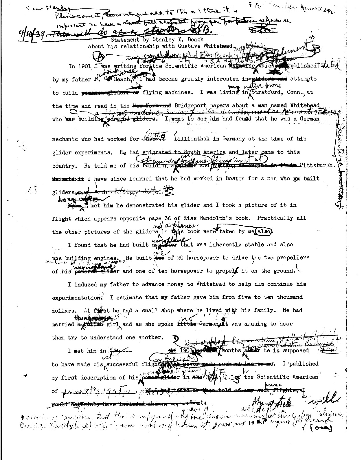 smithsonian conspiracy to deny whitehead flew first now provable beach whitehead statement draft 1 p 1 of 6 heavy edits including