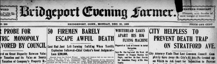 Header, Bridgeport Evening Farmer, Dec. 20, 1909.